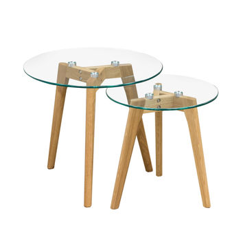 Monarch Round 2PC Nesting Tables w/ Oak Legs & Clear, Tempered Glass Top by Diamond Sofa