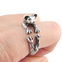 3D Weasel Ferret Mink Shaped Animal Wrap Around Ring in Silver