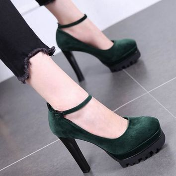12CM ultra high heel and a pair of velvet single shoes Waterproof platform for women's