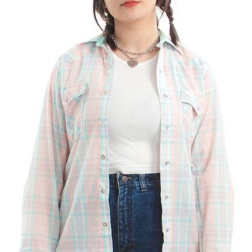 Vintage 80's Pam Plaid Top - XS/S/M