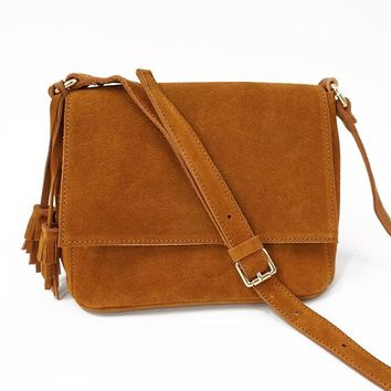Genuine Leather and Suede Handcrafted Shoulder Bag