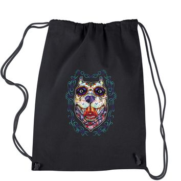 (Color) Pitbull Sugar Skull Day Of The Dead Drawstring Backpack