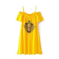 Slash Neck Off Shoulder Summer Dress Vintage Floral Embroidery Casual Women Dress