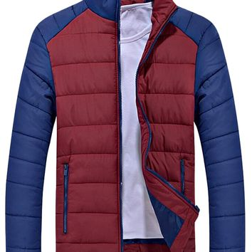 XQS Men's Fashion Color Block Stand Collar Down Jacket Coat