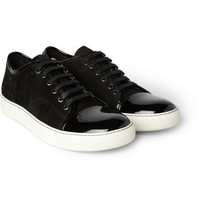 Lanvin Suede and Patent-Leather Sneakers | MR PORTER