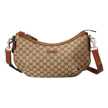 Gucci Messenger Bag GG Canvas Brown Leather 353399