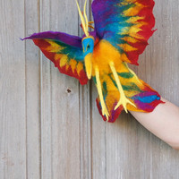 Hand puppet Rainbow Bird,  Bird of Paradise, children's theater, nursery toy, felted toy for creative play, eco-friendly toy, OOAK