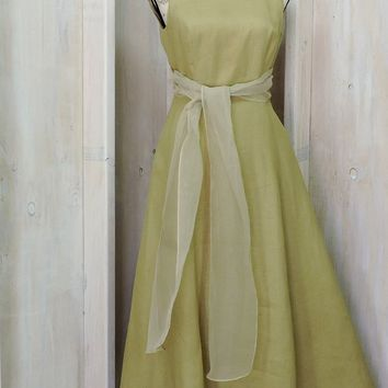 Linen maxi dress XS size 3 / 4 / sleeveless long linen dress