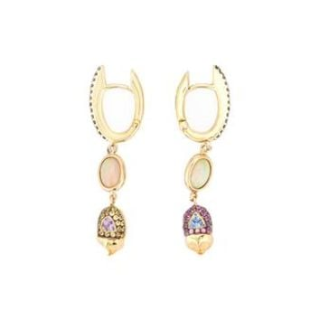 DANIELA VILLEGAS | 18K Yellow Gold, Sapphire & Opal BFF Earrings | Womenswear | Browns Fashion