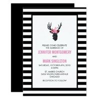 Geometric Deer Head with Floral Crown Wedding Card