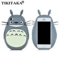 New style 3D Cartoon Totoro cat soft silicon cute cover back phone case For Iphone 5 5S SE 6 6S / Plus Lovely TPU Shell Cases