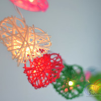 Garland Light Christmas Decoration Patio Wedding String Lights Hanging Mixed Colors Rattan Heart  (20 Lights/Set)