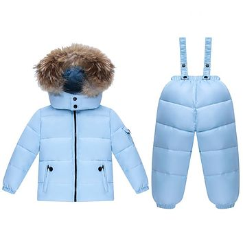 Fashion children winter snowsuit set flannel Down & Parkas warm boys winter snowsuit fur girl winter clothes sets hooded overall