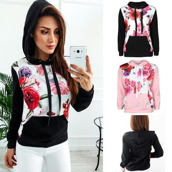 Womens Floral Sweater Hoodie  +Gift Necklace