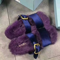 One-nice™ PRADA Rabbit Hair Casual Sandal Slipper Shoes Flip Purple I-AGG-CZDL