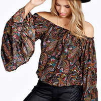 Elise Paisley Off The Shoulder Bell Sleeve Top