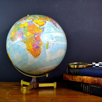Vintage World Globe, Replogle Globe, World Nation Globe, 12 Inch Diameter, Mod Wood and Metal Base, Sphere Globe Bright Colors