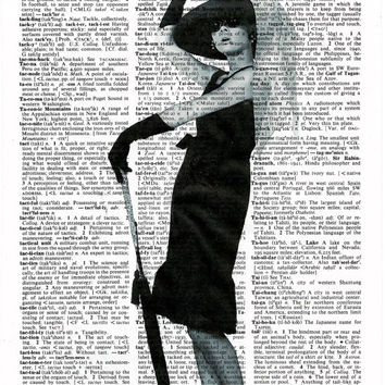 Audrey Hepburn Poster , Audrey Hepburn Art Print, Print on Dictionary Paper,Wall Decor, Mix Media,Dictionary Art Print, Poster,Black & White