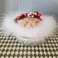 Powder Puff and Vintage Glass Powder Dish, Gift For Her, Vanity Decor, Handmade Powder Puff, Powder Dusting Gift, Fluffy Pouf, Ready to Ship