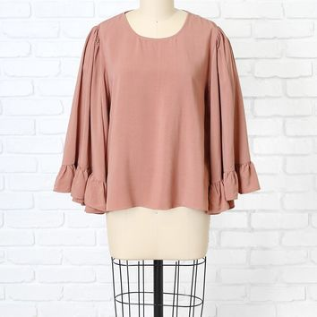 Coral Statement Sleeve Blouse