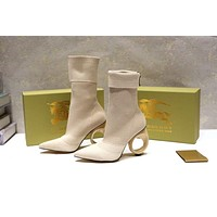 Burberry trendy high heel middle tube single boots-1