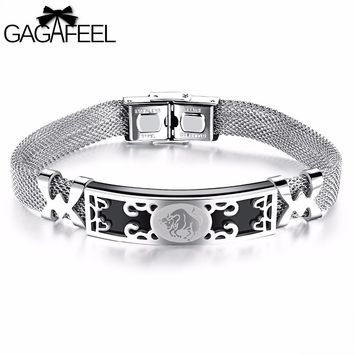 GAGAFEEL Charm Bracelet Femme Men 12 Constellation bracelets Jewelry Signs Unisex Stainless Steel Bangle High Quality Hot Gifts