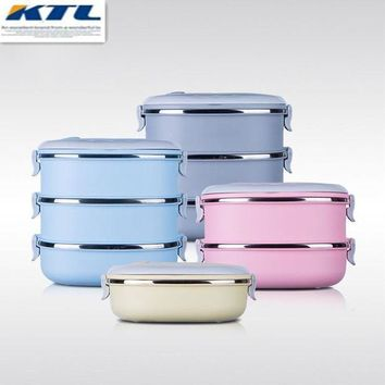CREYG8W KuBac Container For Food Storage Box Thermal School LunchBox Stainless Steel Japanese Bento Lunch Boxs Portable Picnic