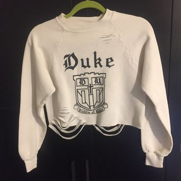 VINTAGE DUKE CREAM DISTRESSED CREWNECK CROP
