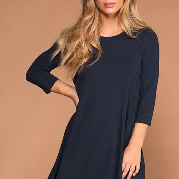 Catching Leaves Swing Pocket Dress - Navy
