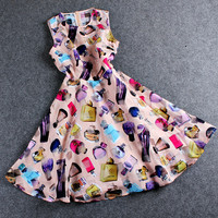 Perfume Bottles Printed Sleeveless Zipper Back Mini Chiffon Dress