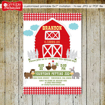 Printable farm invitation, Petting zoo birthday invite, Custom barn invitation with animals, donkey, horse, rooster, hen