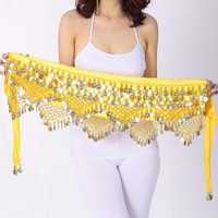 Women Sweet Hip Scarf With Gold Coins Skirts Wrap Noisy Egyptian Belly Dancing Hand Crocheted Beads Velvet Belt