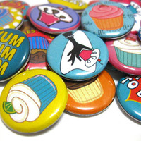 CUPCAKES   set of 25 pin back buttons by jessejanes on Etsy