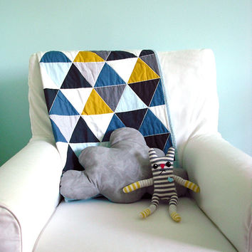 Modern Geometric Baby Quilt in Teal and Multi Color Triangles for Boys – Reversible