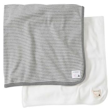 Burt's Bees Baby 2-Pack Organic Cotton Blanket in Grey Stripe/Solid