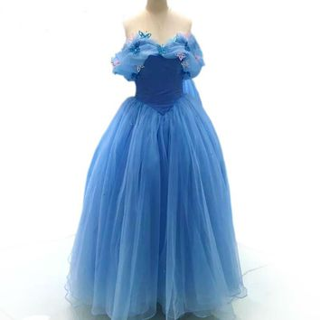 Light Blue Embroidery Butterfly Evening Dresses Ball Gown Long Formal Dress