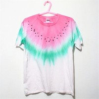 MP White Watermelon Pattern Tie Dye Round Neck T Shirt 052838 T0610