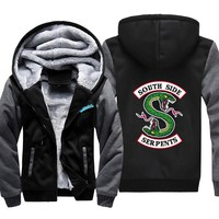 Hot New Mens Thick Hoodies Riverdale South Side Serpents Coat Men Jacket Jughead Jones Archie Andrews Men Winter Clothes