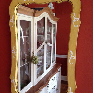 Vintage Wood Mirror Hand Painted and Distressed in Golden Yellow with White Scroll Design