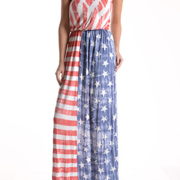 T-Party American Flag Maxi Dress