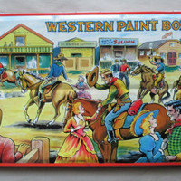 Watercolor Set by Page of London, 50's Vintage, Excellent Condition, Wall Display, Western Scene