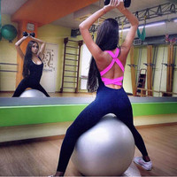 One Piece Sexy Women Gym Fitness Clothing Suit Quick Drying Elastic Fitness Tights Running Tight Jumpsuits Sports Yoga Set