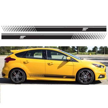 Luluda Automobile,2pcs Stickers Decal for Ford Stripe body kit Door Handle Guard Sill st car styling