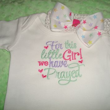 For This Little Girl We Have Prayed Gown/Bodysuit with Hair Bow Band - Home coming Going Home Outfit