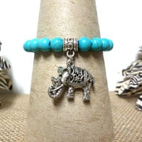 Turquoise and Silver Elephant Charm Stretch Bracelet, Turquoise Bead Stretch Bracelet USA Seller. gift