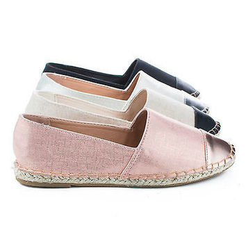 Saturday52 Cap Toe Slip On Jute Rope Espadrille Flats