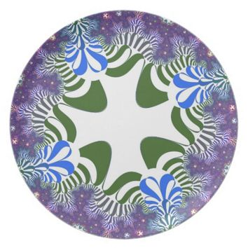 Purple Floral Cross Pattern Plate