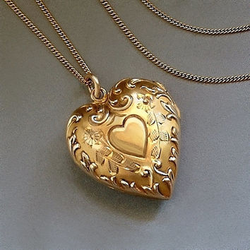 "10K Antique LOCKET Necklace Solid Gold HEART Insert Frames, Covers, 20"" Chain SIGNED Hallmarked c.1920s, Mother's Day Gift"
