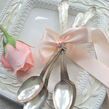 Set of 5 - Antique Silver Plated Rogers Iced Tea Spoons - Replacement Pieces/Parfait Spoons