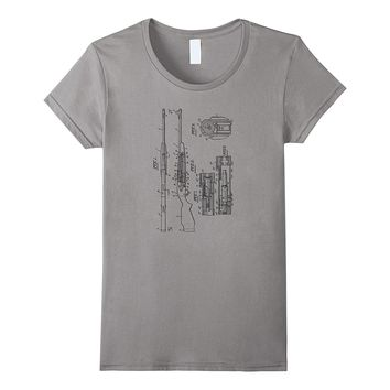 Rifle Patent Drawing T-Shirt - Hunting Shirt for Hunters
